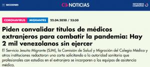 Aparición de investigadora en noticia para chilevisión sobre convalidación de títulos para médicos migrantes