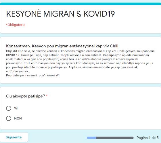 Lanzamiento encuesta inédita sobre COVID-19 dirigida a población migrante internacional en Chile