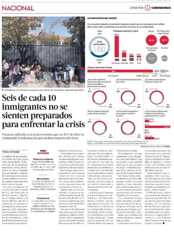 Publicación de resultados de Encuesta sobre necesidades y conocimientos sobre COVID-19 a población migrante internacional residente en Chile, noticia en La Tercera