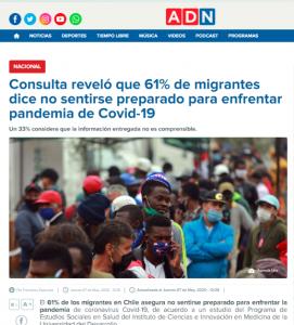 Aparición de PROESSA en medios sobre resultados de encuesta realizada sobre situación de migrantes internacionales en Chile y COVID-19
