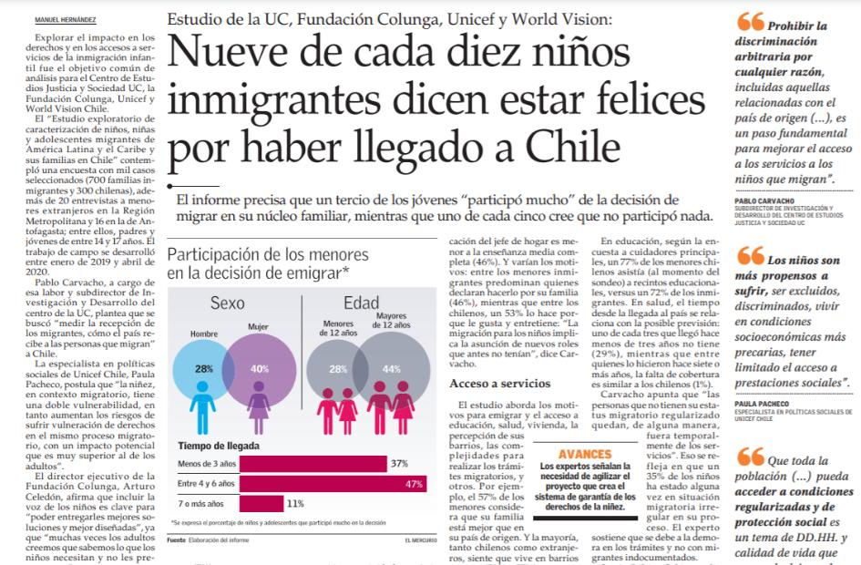 """Aparición de directora PROESSA UDD en columna de diario """"El Mercurio"""""""