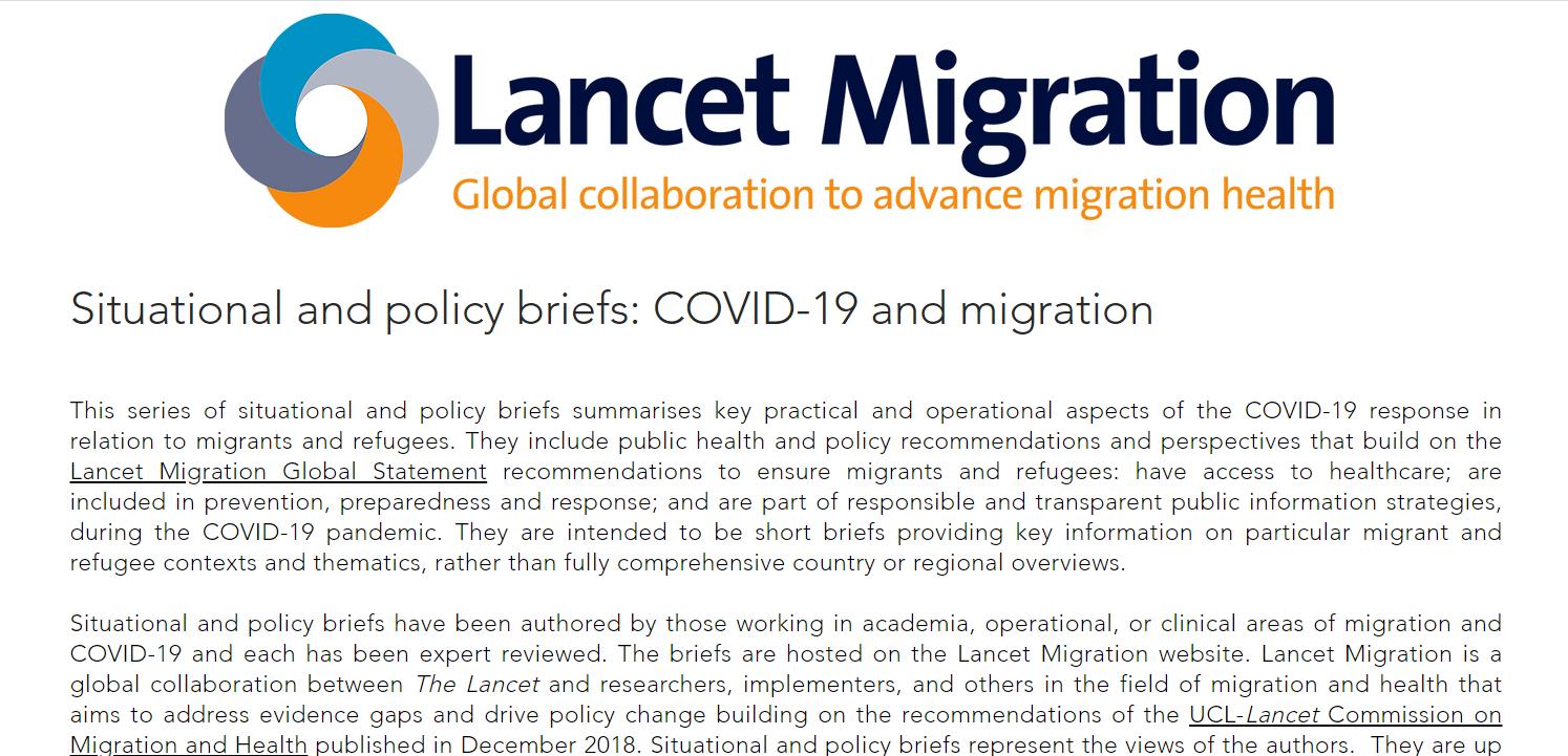Reporte situacional de caso migrantes internacionales en Chile durante la pandemia por COVID-19 publicado en web Lancet Migration