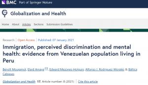 Publicación artículo científico con participación de investigadora PROESSA en Revista Globalization and Health