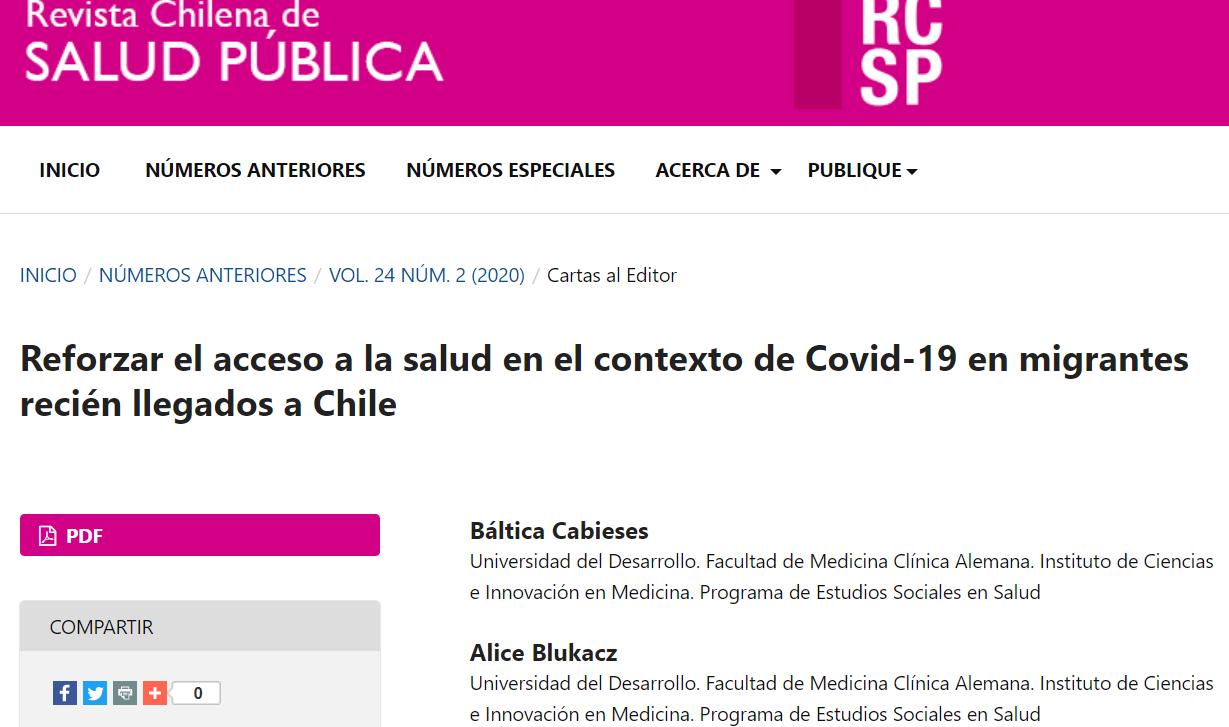 Publicación carta al editor en Revista Chilena de Salud Pública