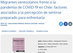 Publicación artículo científico sobre COVID-19 y migrantes internacionales