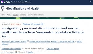 Publicación artículo científico sobre salud mental de migrantes internacionales