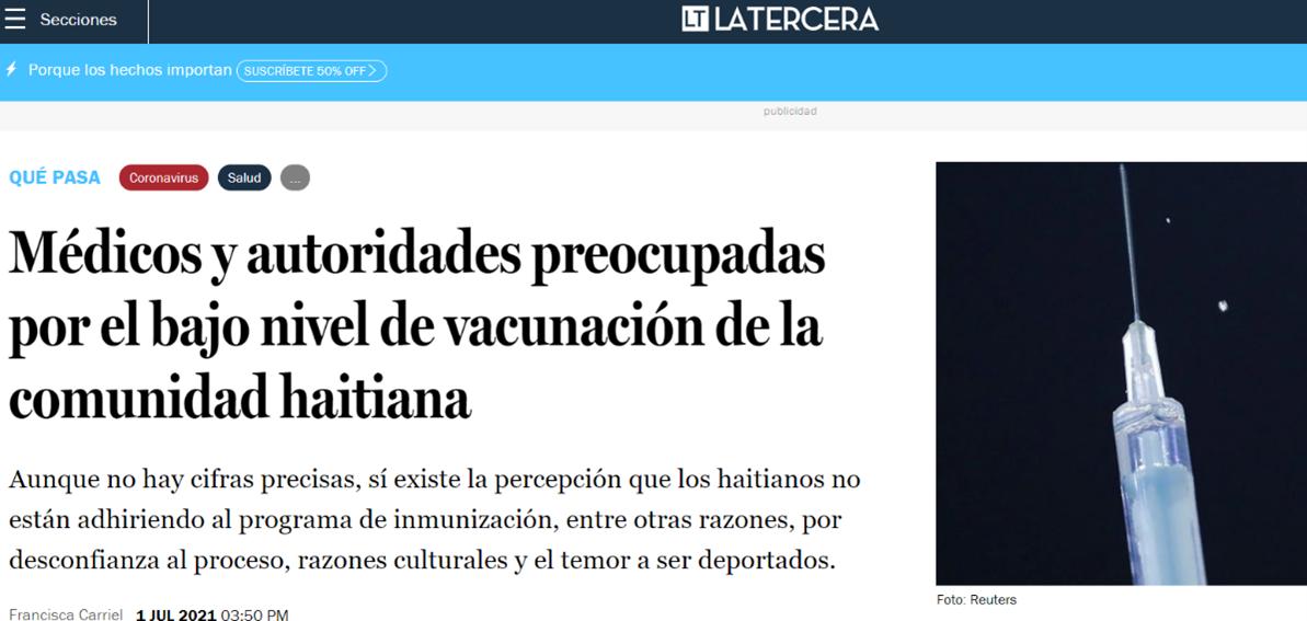 """Aparición en diario """"La Tercera"""" de investigadoras de PROESSA en reportaje sobre vacunación de población haitiana"""