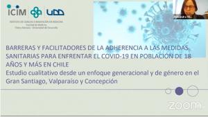 Seminario difusión de resultados estudio sobre adherencia a medidas sanitarias para enfrentar COVID-19 liderado por investigadora PROESSA