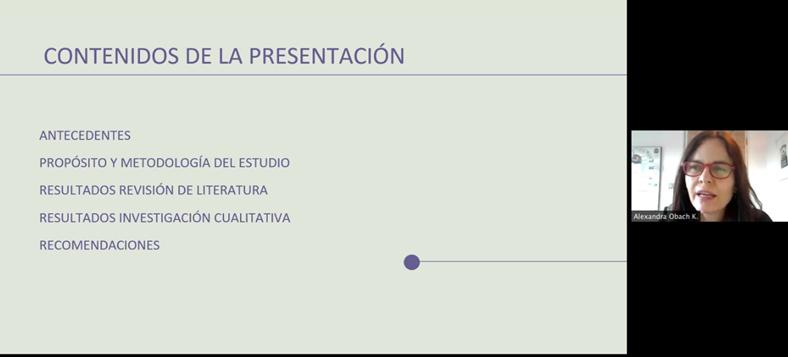 Presentación de investigadora PROESSA sobre resultados de estudio en Reunión clínica de Clínica Alemana